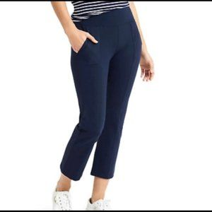 Athleta metro kick crop flared pants navy blue size small